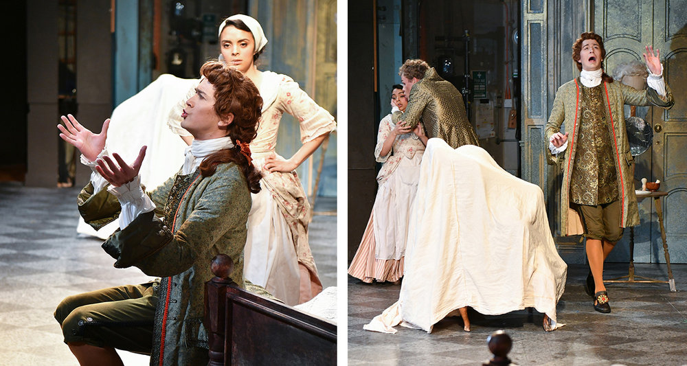 Joel as Basilio in The Marriage of Figaro at The Royal College of Music © Chris Christodoulou
