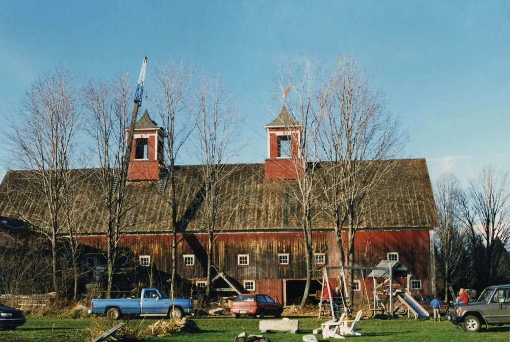 Early 1990's, cupola restoration and placing the newly designed weather vanes.