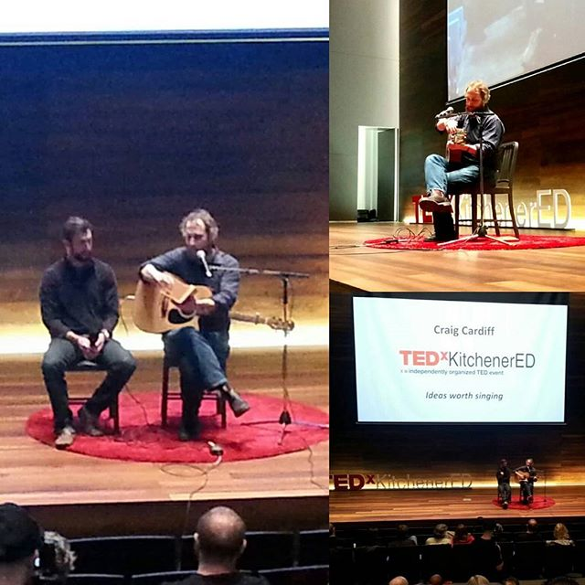 So this was a cool moment. While filming at #TEDxKitchenerEd on Saturday, BDC's very own @trplanet was called on stage to help Craig Cardiff write a love song on the spot!! #kwawesome