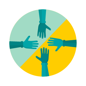 Illustration of hands coming together in circle.