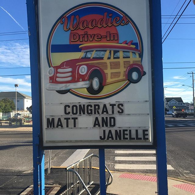 Flashback Friday! #fbf one week since the Jayson's wedding of the century! Special thanks to @woodies_shipbottom for putting up this awesome sign and celebrating with us! #woodiesburgers #businessowners #fifthstreetfriends