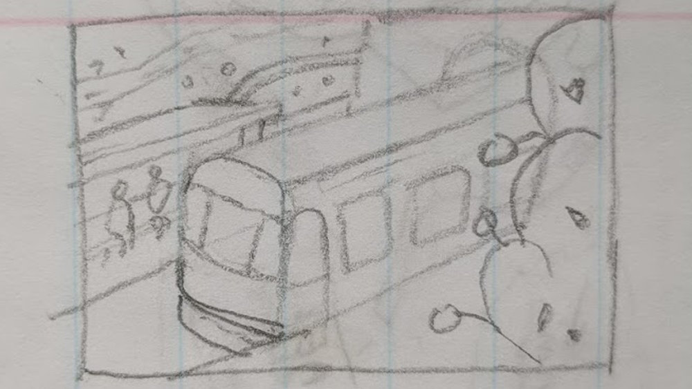 Initial thumbnail. I find working small helps me block out shapes much more easily.