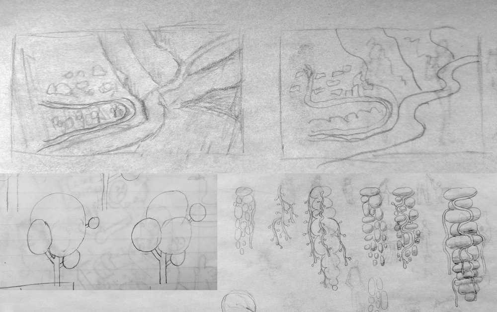 Sketches of the Background, trees, and the moss on the tunnel