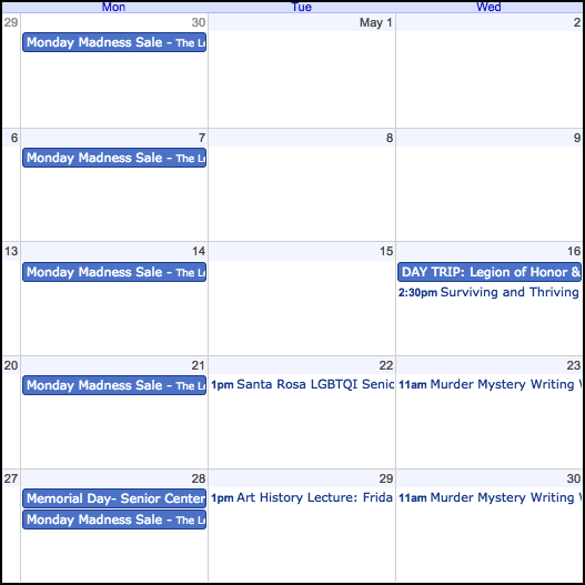 Event and Class Calendar