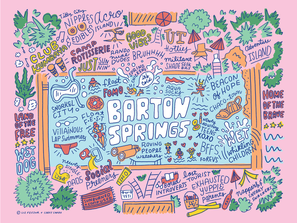 Liz Feezor Corey Carbo map Barton Springs Austin