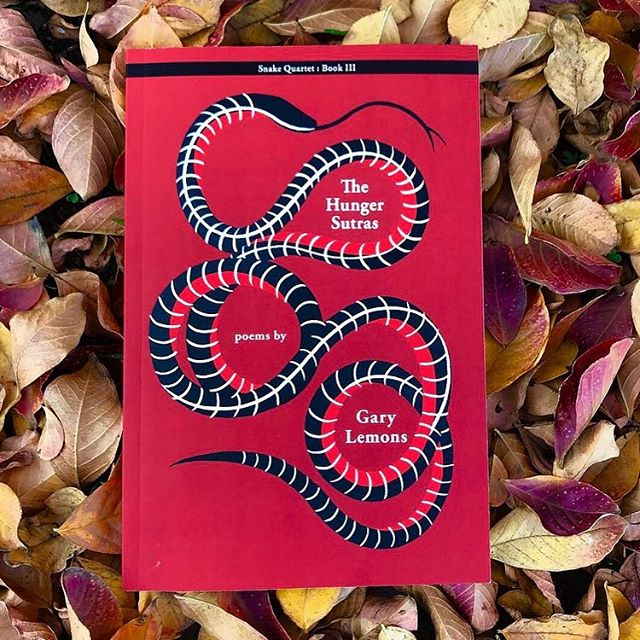 """Newest cover out from @redhenpress ! This is the final book in a trilogy about an omnipresent Snake god. Lemons says, """"Snake is the extracted limbic brain removed from the collective consciousness and hunted across an emptied landscape. Snake is the badass reptile holding back the end of time by sticking himself into the spokes of Samsara."""" These poems are dark and sultry and menacing and I absolutely loved designing the cover"""