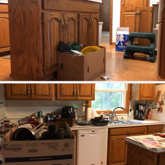 Before the Remodel - Organize your kitchen into three sections: 1. Things to pack away. 2. Things to organize. 3. Things to use for your temporary kitchen.