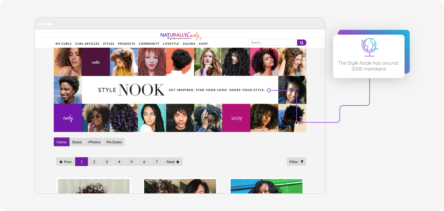 Naturally Curly's online community, the Style Nook