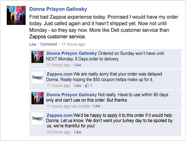 Zappos.com responds to an unhappy customer