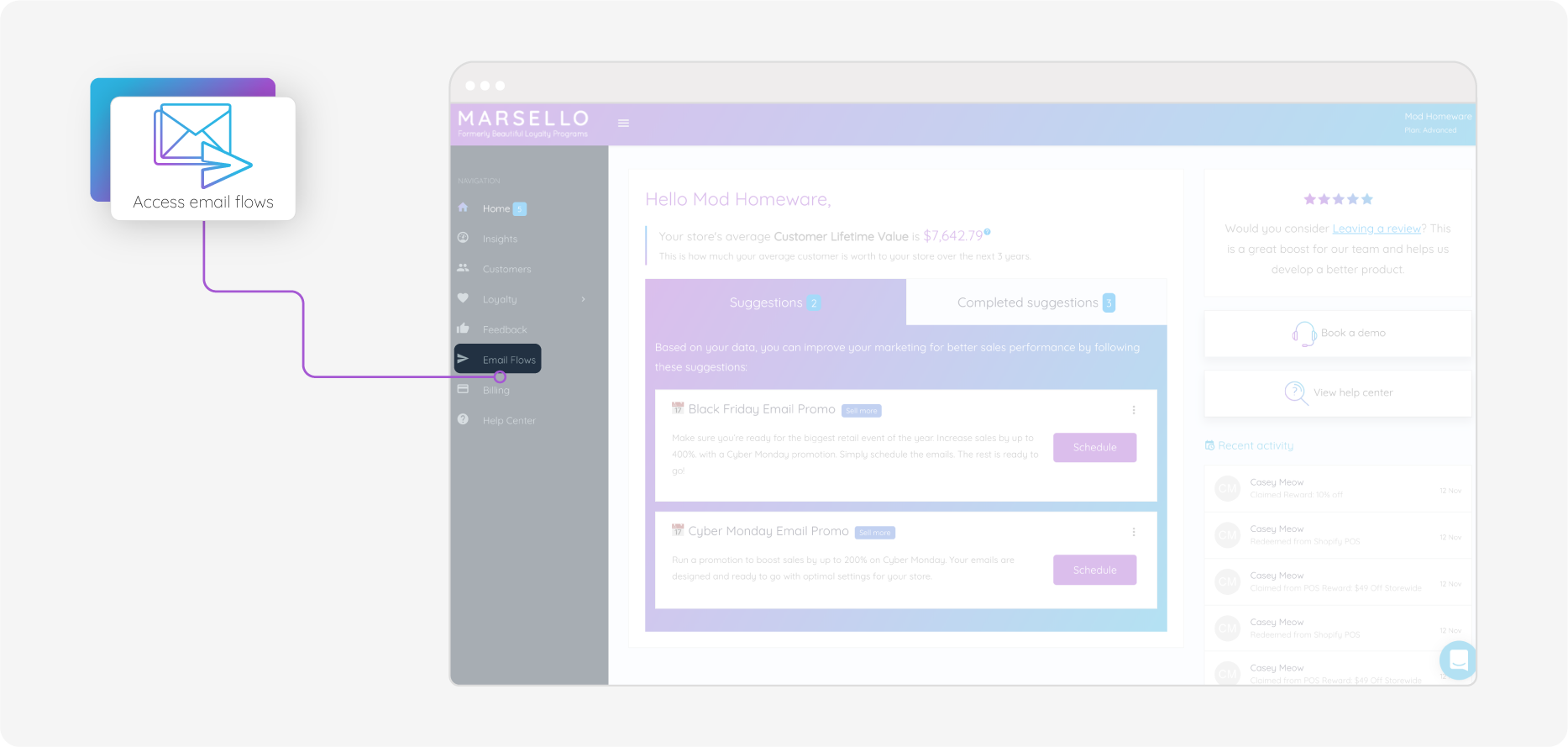 Marsello Interface With Email Flow Button Highlighted