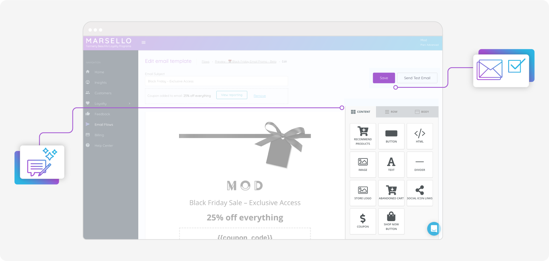 Marsello Email Flow Email Editor