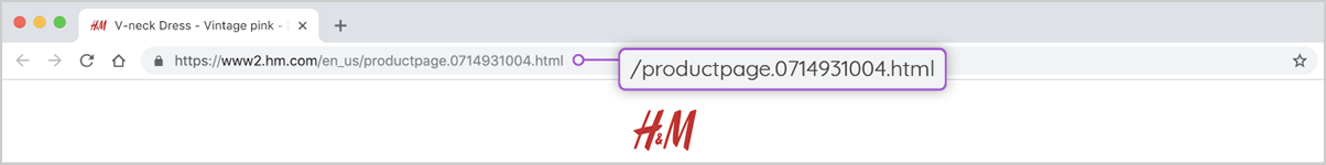 H&M product page url