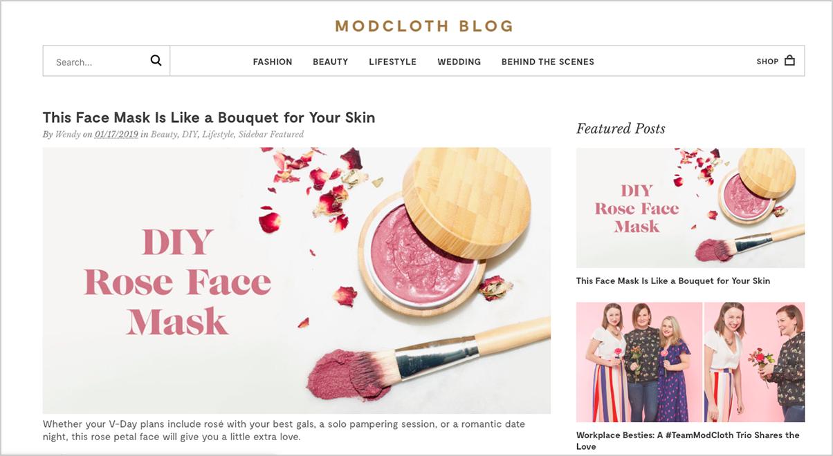 Mod cloth website homepage
