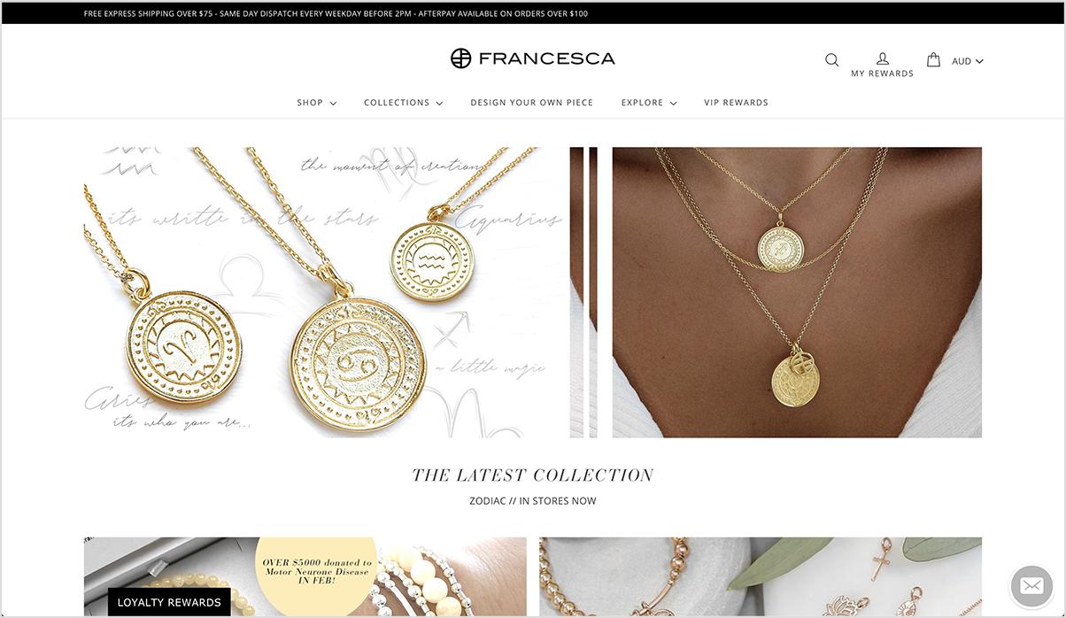 Francesca's online store's homepage