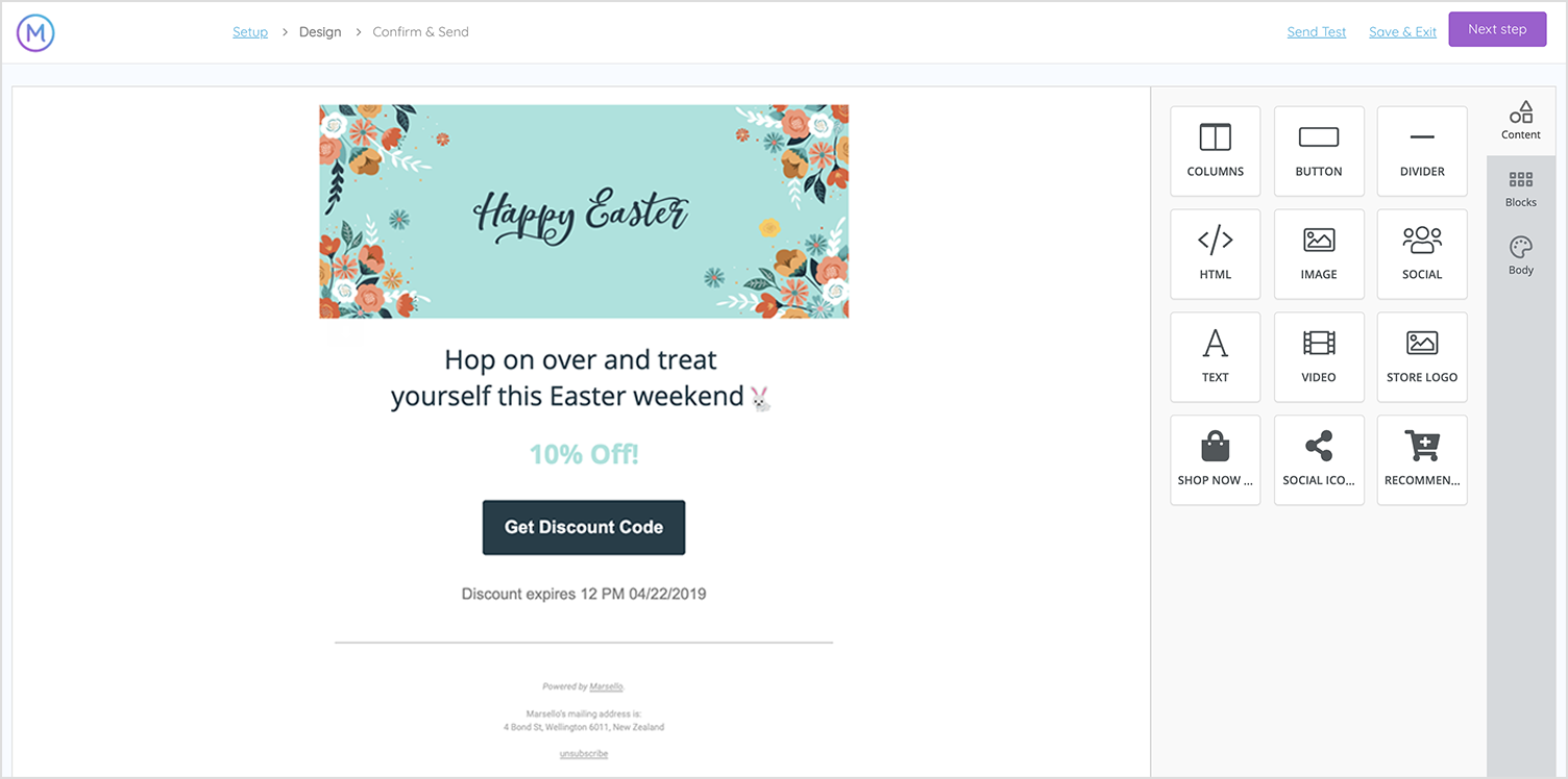 Marsello Campaigns Email Builder