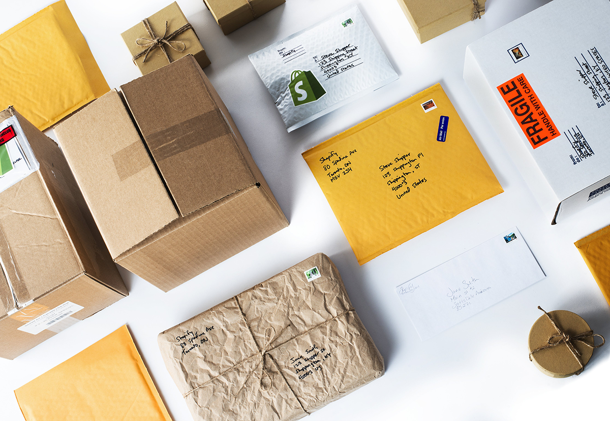 Flatlay of packages on a table