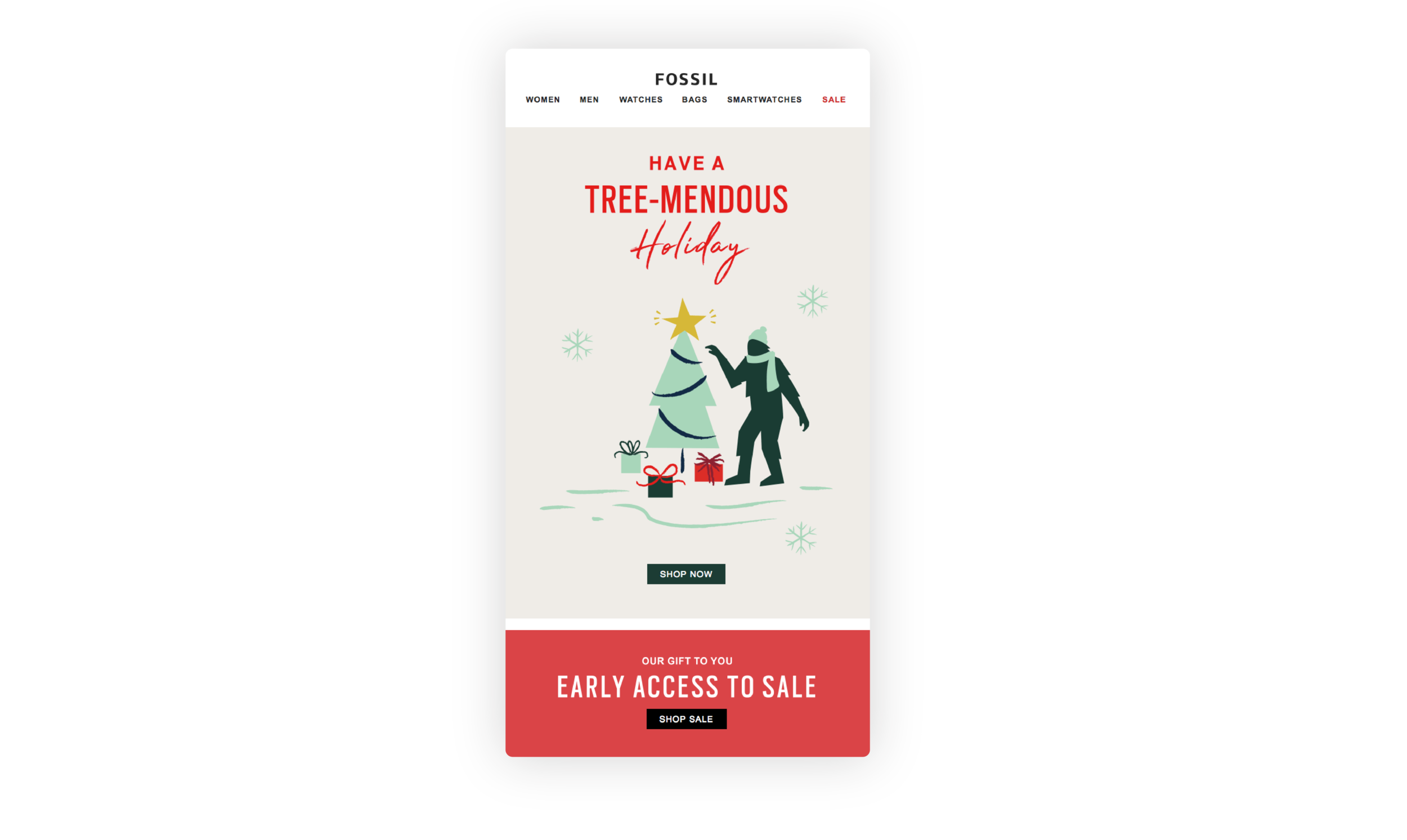 Fossil sends customers the message 'Have a Tree-mendous Holiday'