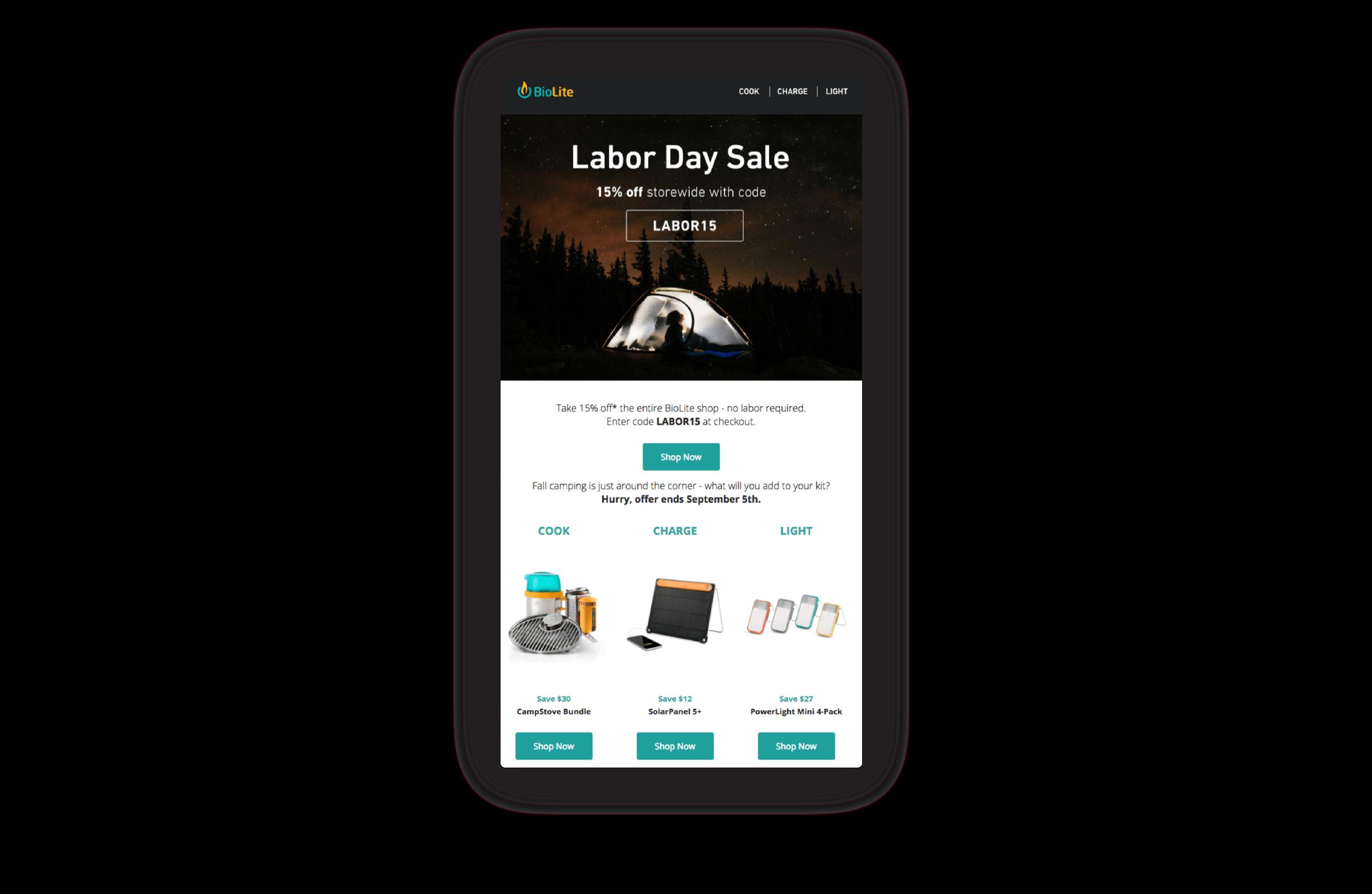 BioLite's Labour Day Sale announcement banner on their website marketing 15% off.