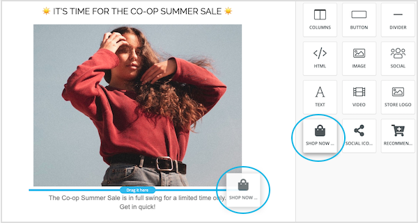 Marsello's 'Shop Now' button in drag-and-drop email builder