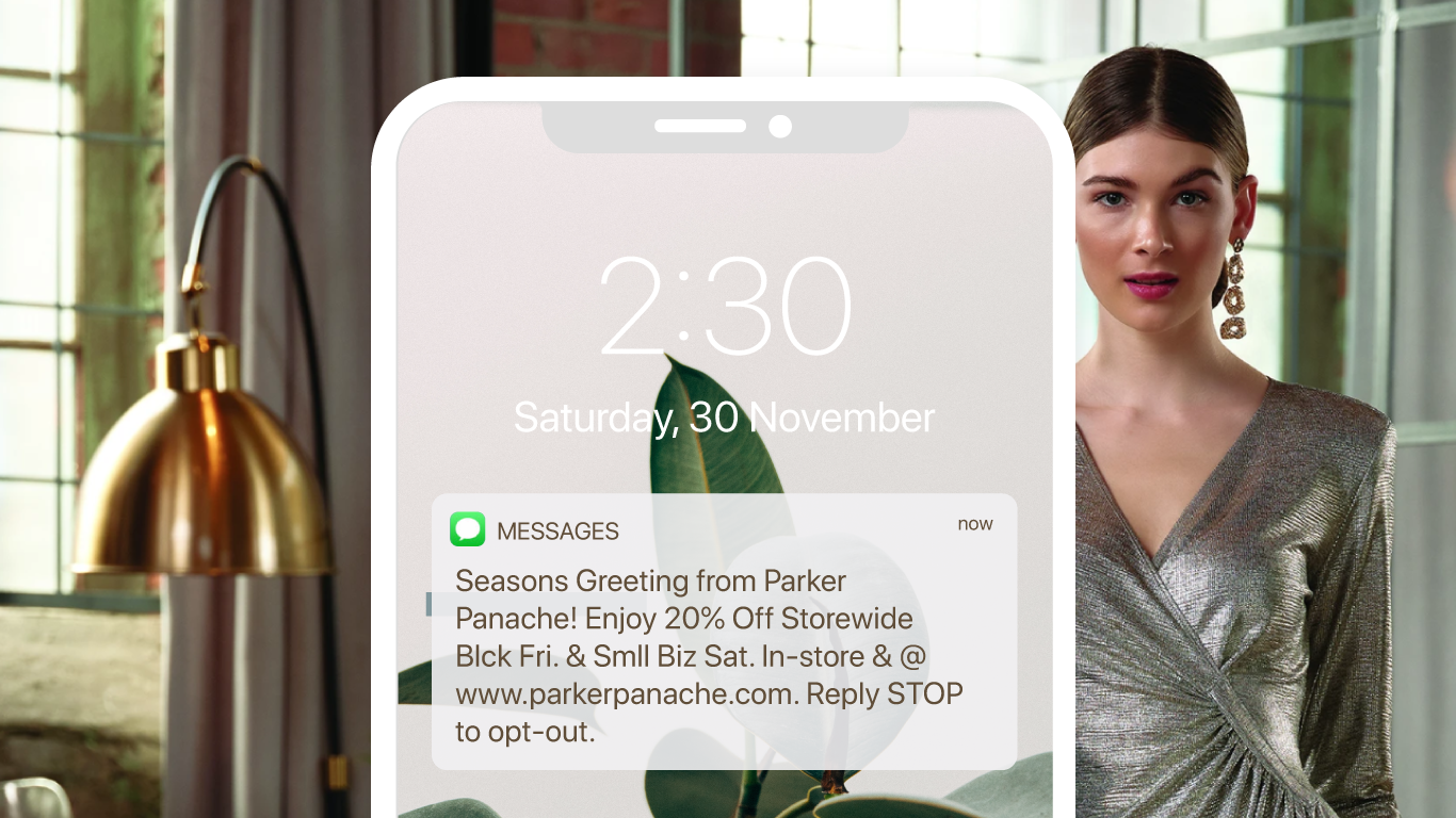 A promotional text message offering a 20% off discount for BFCM