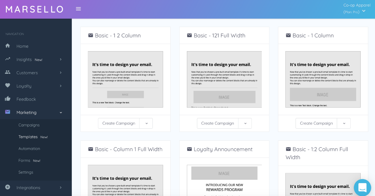 Marsello's in-app email template library with6 templates