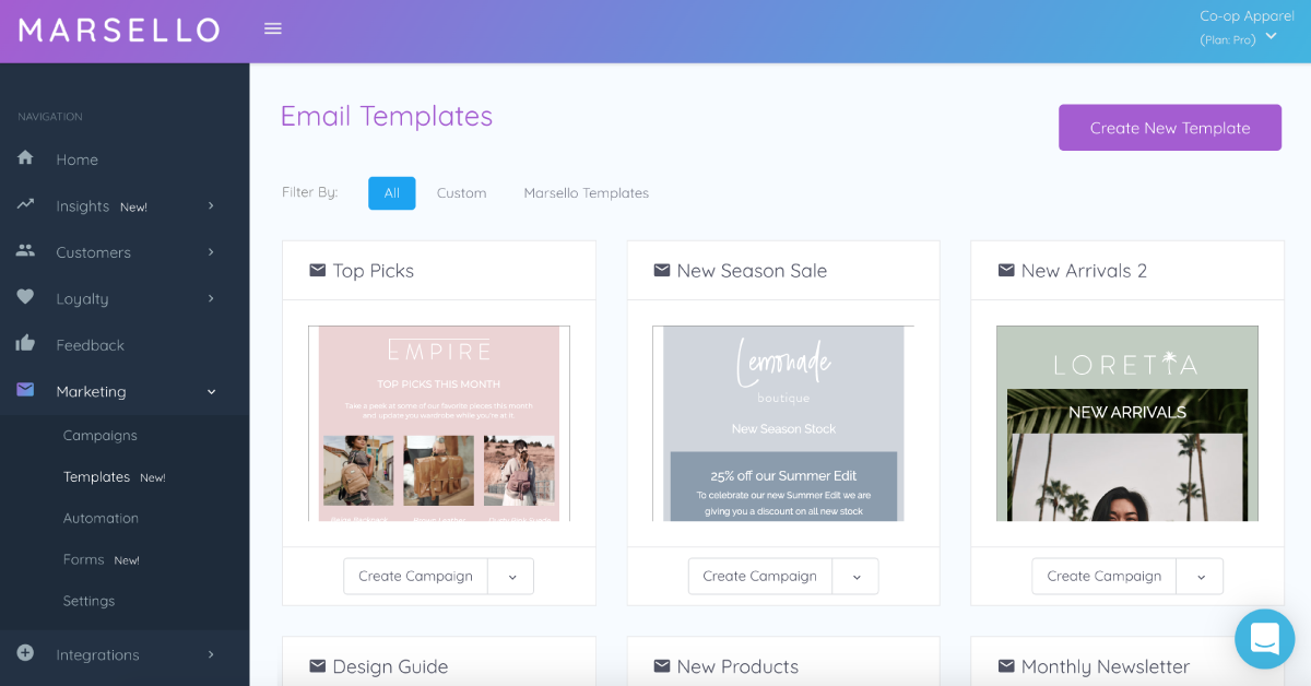 Marsello's themed email templates within the app