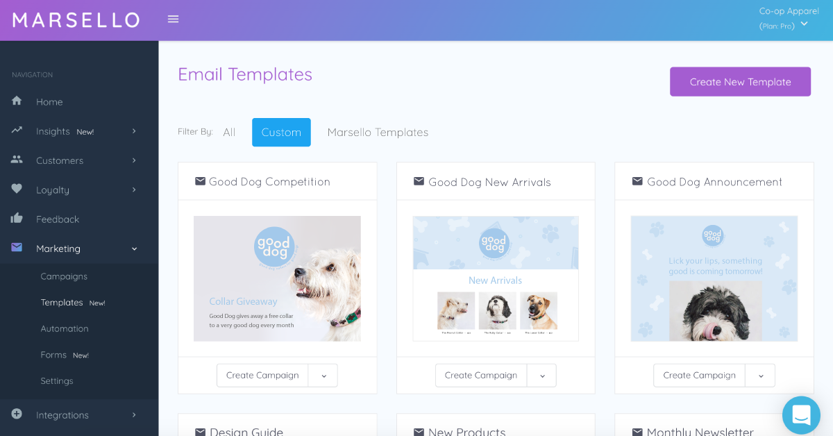 Marsello's in-app email templates with custom themes.