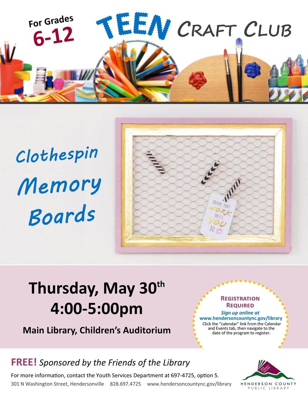 Teen Craft Club May 2019 Clothespin Memory Boards.jpg