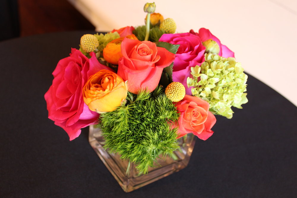 Colorful Pink, Green and Pink Floral Arrangement in 4x4 Cube.jpg
