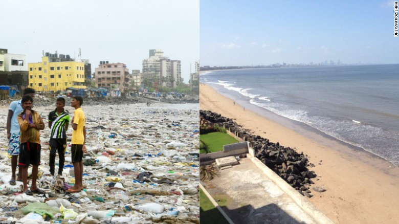 Before and after photos of the world's largest beach cleanup                                  photos courtesy of the  D  aily Mail