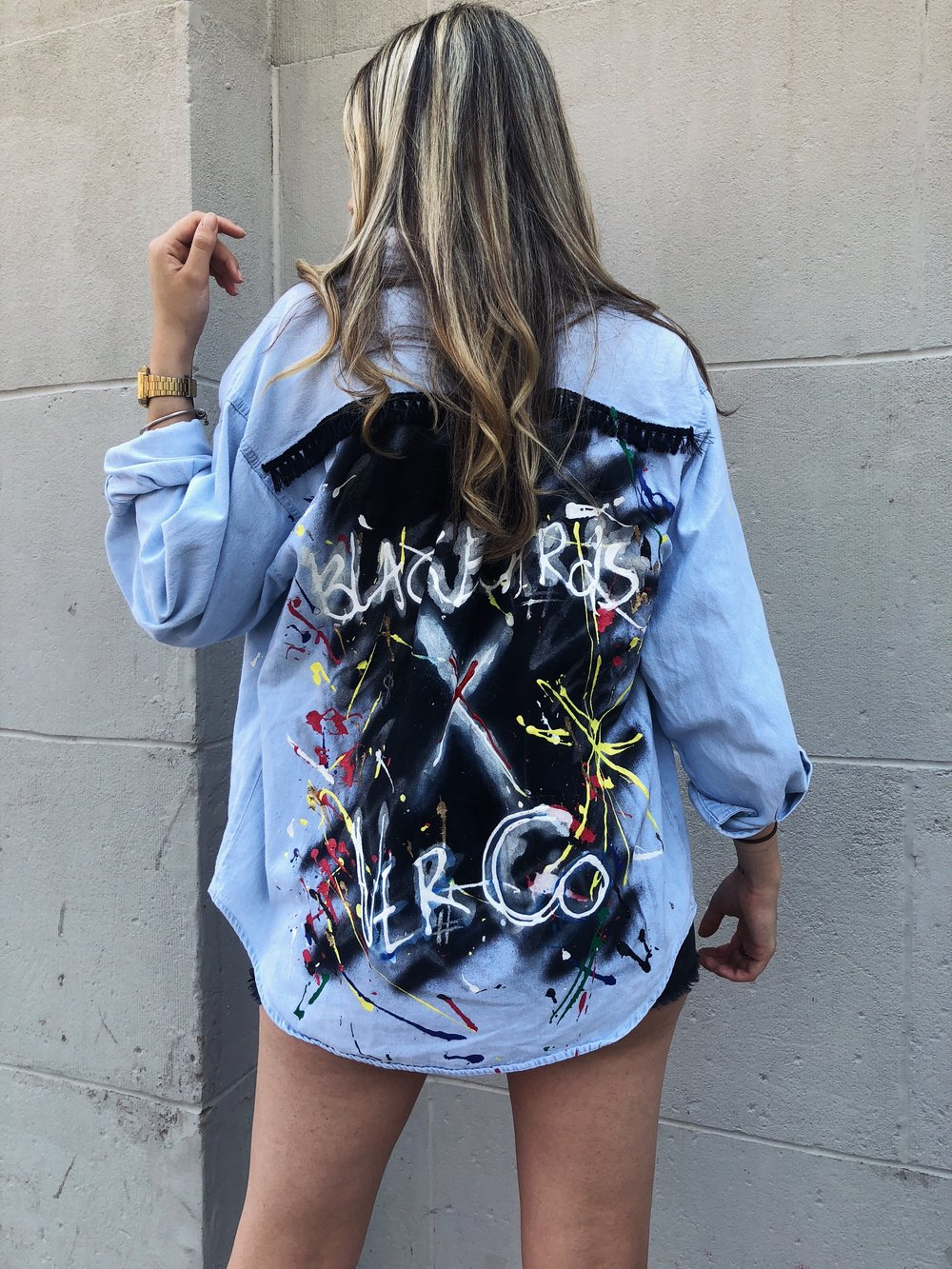Ana in the Blackboards x Ver Co soft denim shirt.