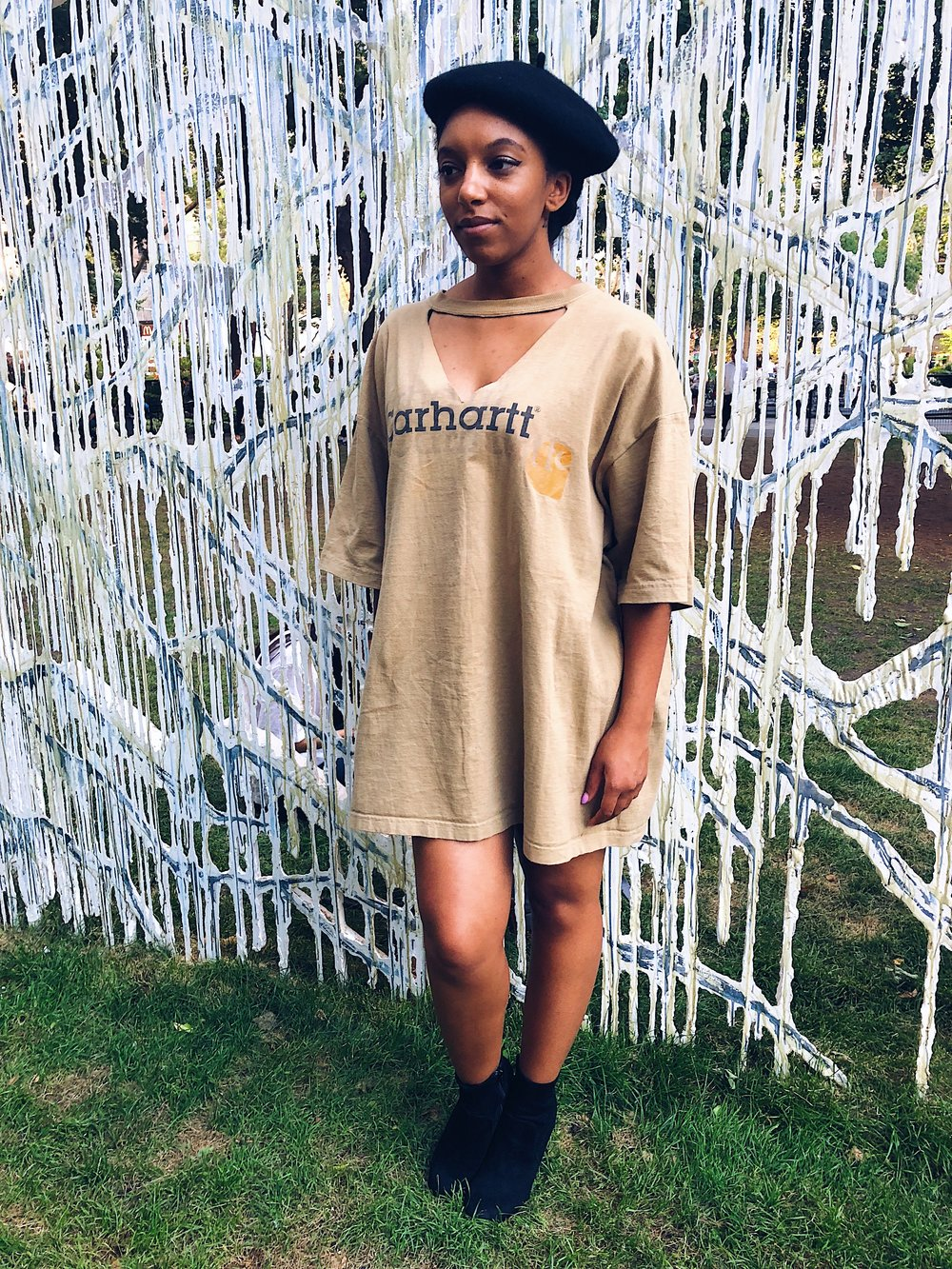 J'na in the Reworked Carhartt Dress.