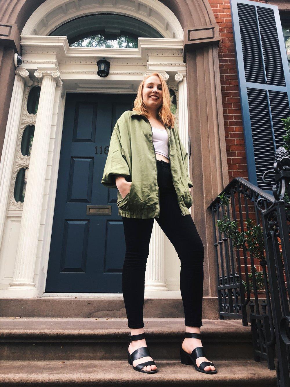 Emilie in the Vintage Silk Duster Jacket.