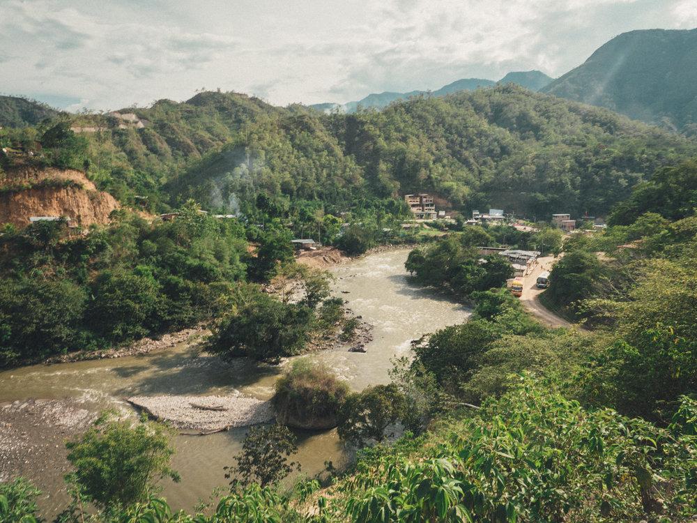 Rio Chinchipe, which separates Ecuador from Peru, at La Balsa.