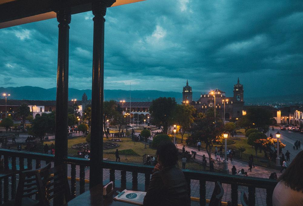 View over Plaza de Armes from cafe VíaVía