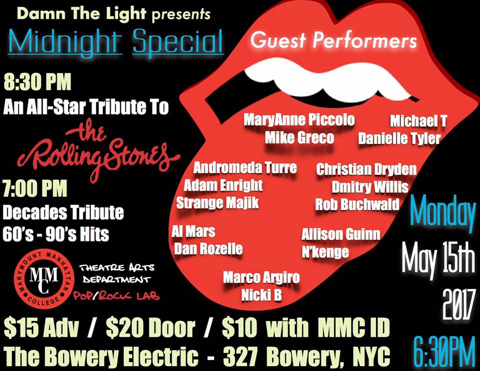 Damn The Light presents Decades Tribute 60's-90's - Come see Isabella as a featured vocalist in the Decades Tribute 60's-90's  at the Bowery Electric, directed by MaryAnne Piccolo with musical direction by Mike Greco!Mon. May 15, 2017  7:00 pm.327 Bowery New York, NY