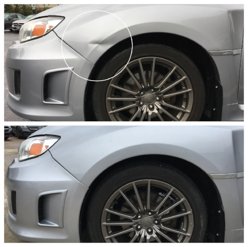 subaru wrx fender dent before and after