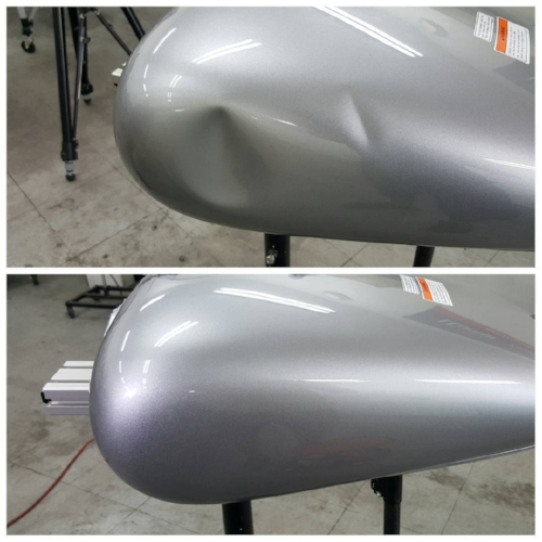 silver dented motorcycle tank repair