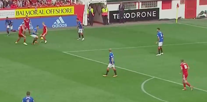 Again, you see our protagonist - Ryan Jack in support. This time he will get the ball out to Goldson, who is already looking up the pitch looking for a place to send the ball. Notice Scott Arfield is also in space as a potential outlet for Goldson.