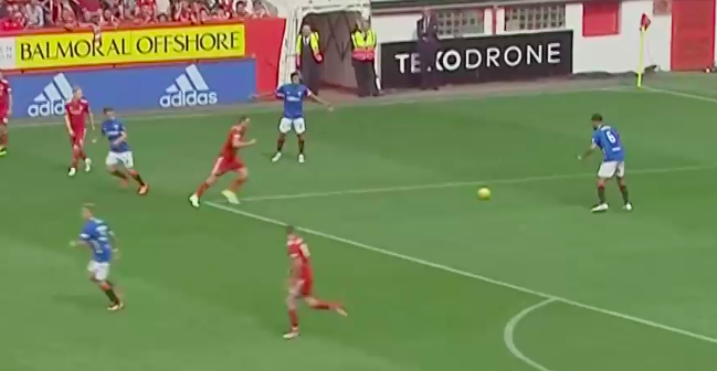 My issue with Goldson's decision to clear the ball is that he has Arfield making a run which could have led to Rangers transitioning into attack if Goldson had made that short pass. Instead, he clears the ball up the pitch - which relieves pressure but also gives the ball right back to Aberdeen.