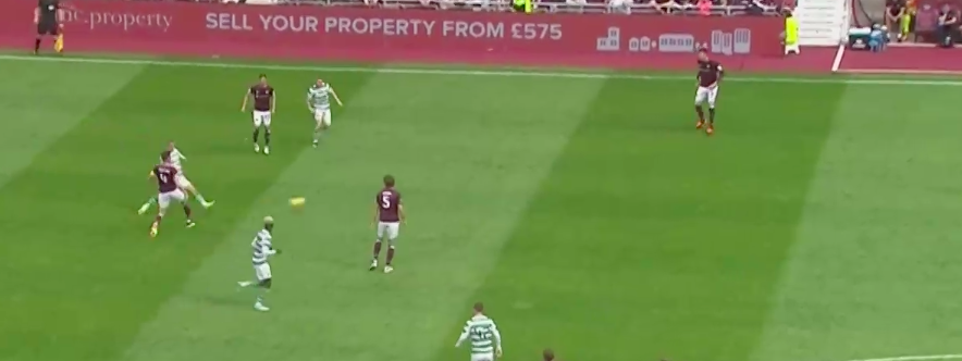 Souttar's first touch causes him to lose possession momentarily (& you can see that Kouassi has run past him). Despite being pressured, he chooses to lay the ball off to a wide open Kyle Lafferty. Lafferty should have been able to easily transition the ball into the attacking half, but misplays the ball & Celtic pick up possession.