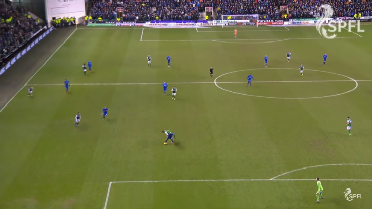 Alfredo Morelos spots the pass from Lewis Stevenson and capitalises on some poor decision making. Scott Arfield's run towards Mark Milligan puts Paul Hanlon off making the pass and he instead decides to try and shield the ball unsuccessfully.
