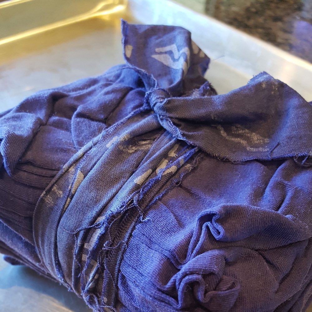 Cotton Knit Fabric - sat in dye bath overnight, approximately 14 hours