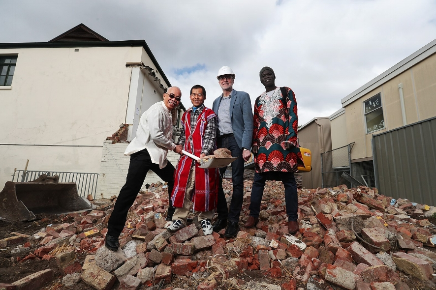 Senior Pastor Stephen Baxter on site as demolition begins with members of the church. Image: Hobart Baptist Church