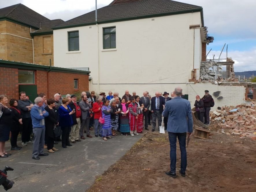 Senior Pastor Stephen Baxter addresses members of the church, 1+2 Architecture and local members of government at the official soil turning ceremony. Image: Hobart Baptist Church