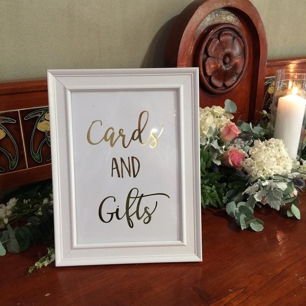 White + Gold Cards + Gift Sign # $5