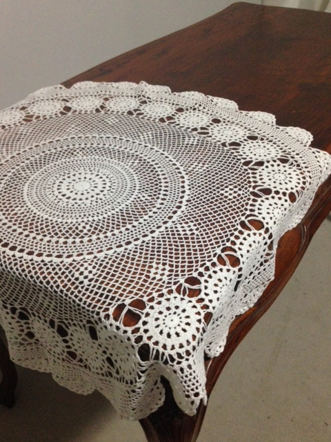 Crocheted Tablecloth # $10