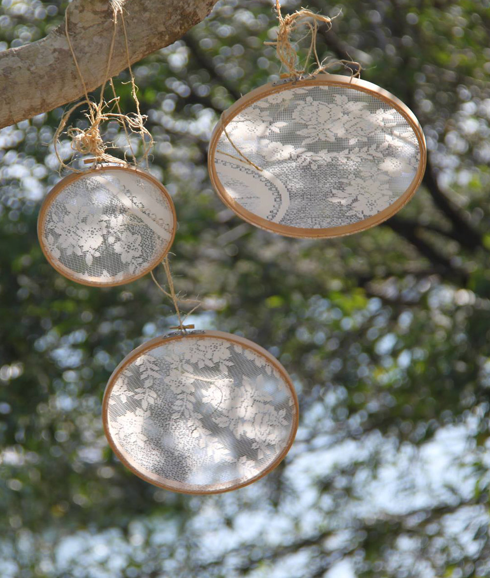 Lace Hanging Hoops # From $3 each