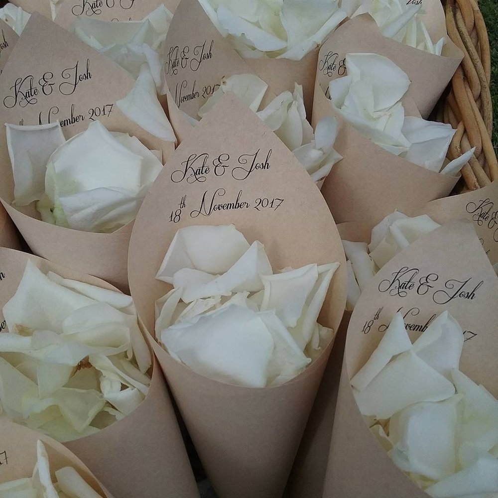 Personalised Rose Petal Cones