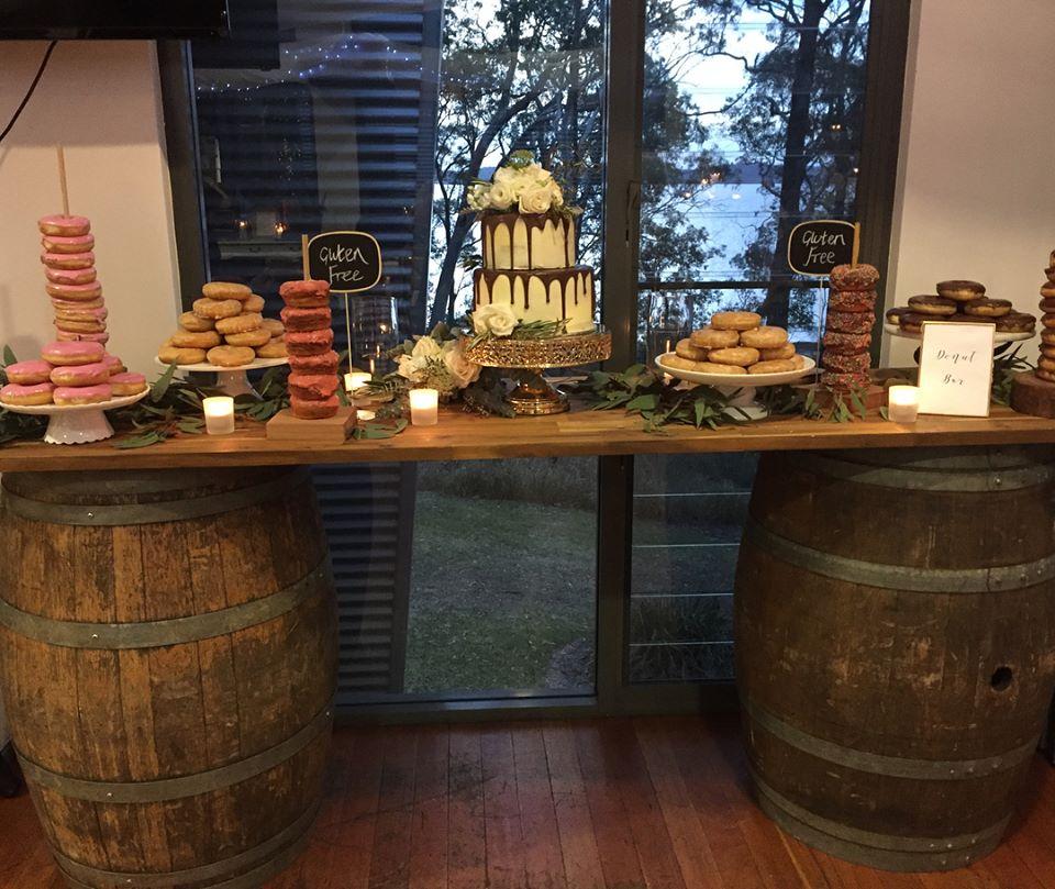 Wine Barrel Dessert Table # $130